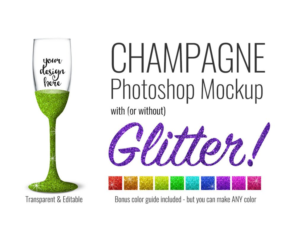 Champagne with Glitter Mockup by SarahDesign
