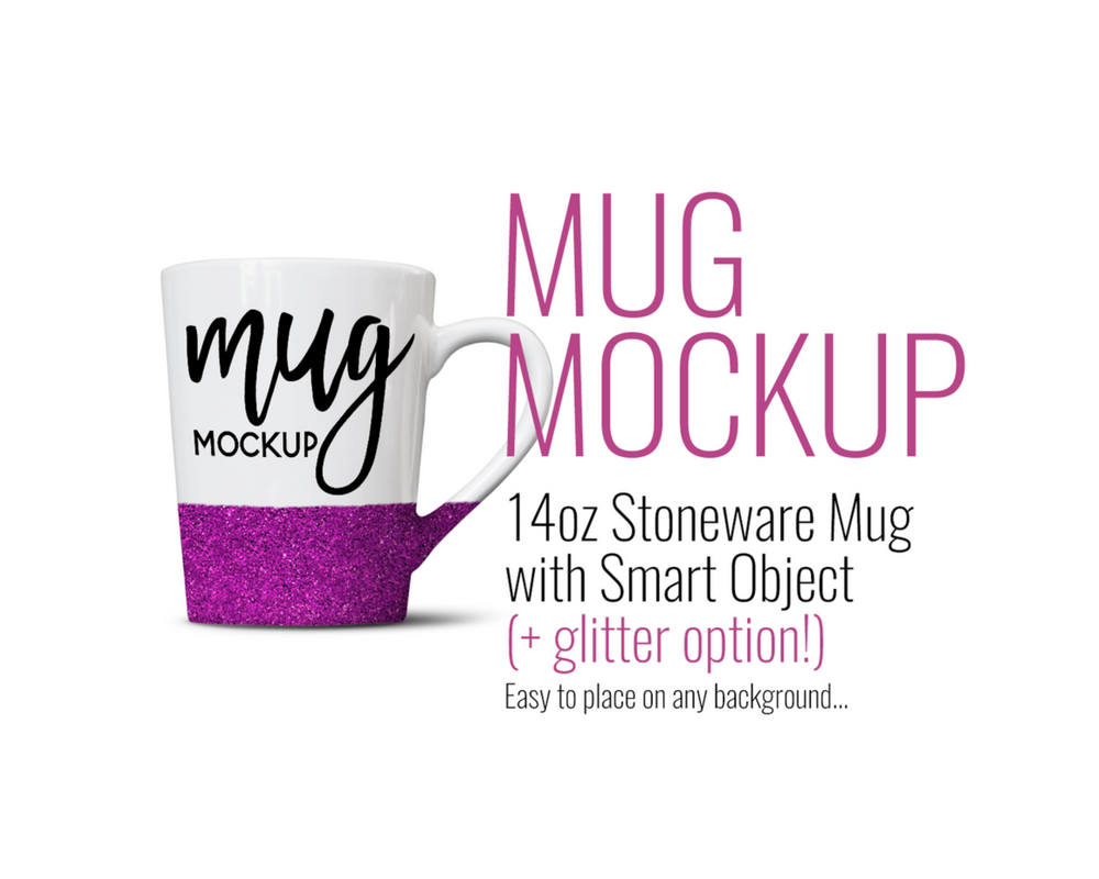 14oz Stoneware Dollar Tree Mug with Glitter Mockup by SarahDesign
