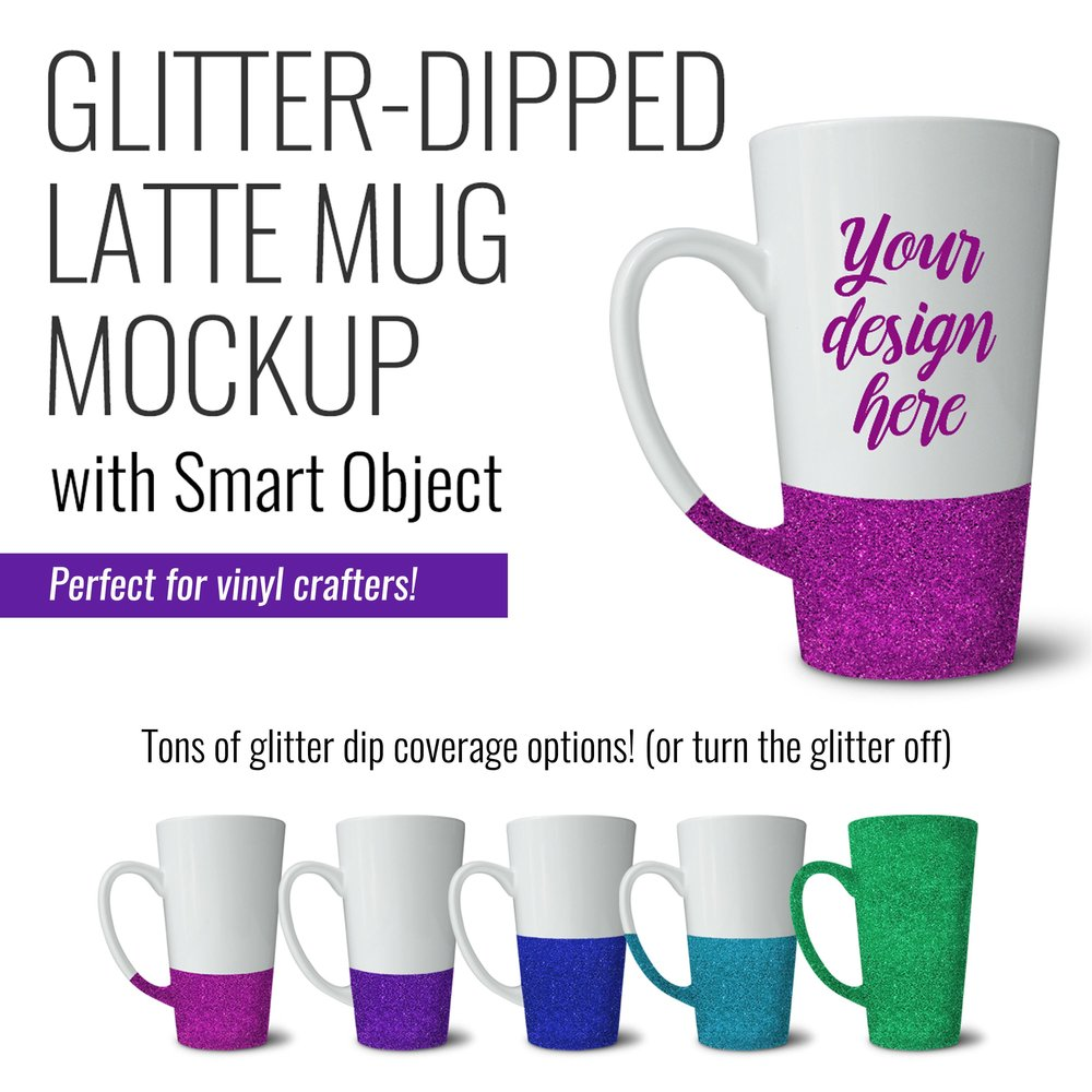 Latte Mug with Glitter Mockup by SarahDesign