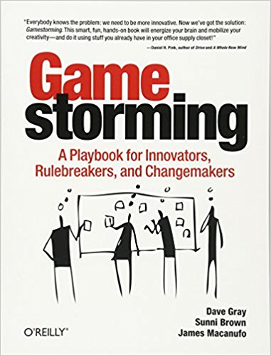 Gamestorming is one of my favorite brainstorming how-to guides. As the image of the book cover suggests, Gamestorming  involves active participation and movement to keep participants engaged.