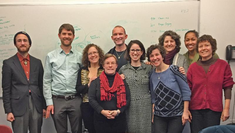 Evan Seitz of UU Mass Action joined the MAICCA leadership team for a planning and strategy meeting on March 6.  Left to right: Joel Wool, Evan Seitz, Amy Benjamin, Rev. Reebee Girash, Rev. Fred Small, Rabbi Shoshana Meira Friedman, Rachie Lewis, Lise Olney, Minister Mariama White-Hammond, Rev. Margaret Bullitt-Jonas
