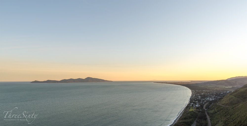 Kapiti Island, with Mount Ruapehu cresting the horizon.