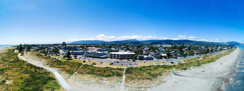 Paraparaumu beach, drone panorama.