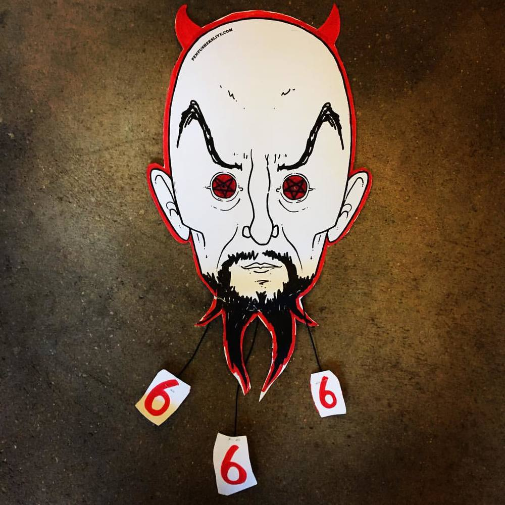 That time I made an #AntonLaVey mask at a kids workshop and a little girl was excited my mask had kitty cat ears 😹. Cute #hailsatan