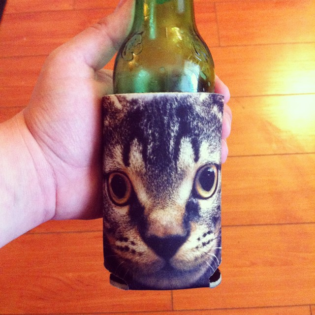 Thank you @nateduval for the purrrrfect koozie #caturday