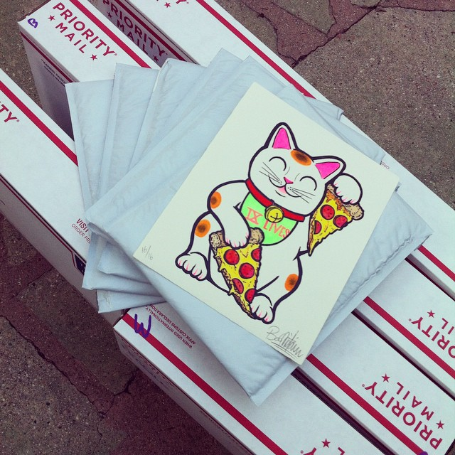 Special thanks to everyone who bought one these lucky pizza cats! Shipping 'em out tomorrow. There are 2 left if anyone wants to get in while the gettin is good! Link in my bio!