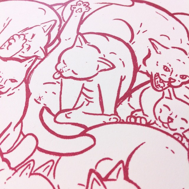 A. D. I. D. A. C. All Day I Dream About Cats.         Sneak peek at a lil #print I will be releasing really soon! Finally dusting off the ol' online store.  (at kitty cat hive mind)