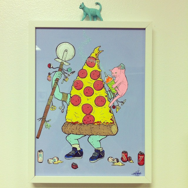 The Pizza Shaman. Gouache, acrylic and ink on paper. 2015. #CATSPLOSION #occult #pizza