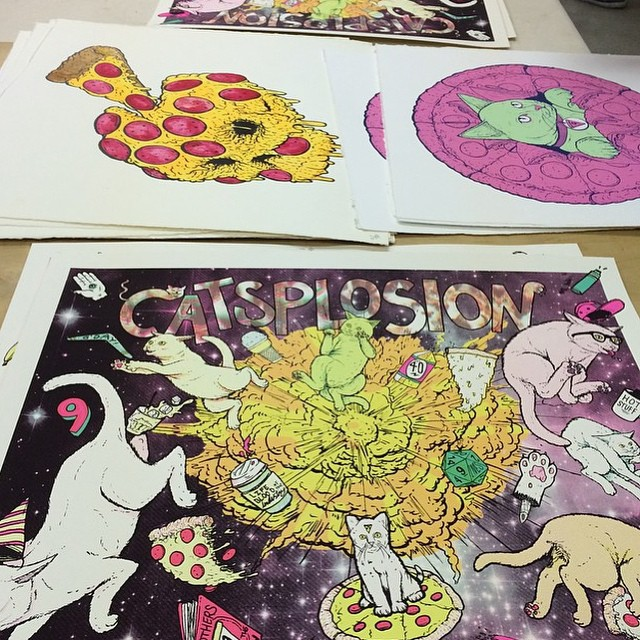 Got a few prints over at #flatstock today! Go check out @industryprintshop 's massive booth and see if you can spot em. #sxsw2015 #flatstock48 #CATSPLOSION