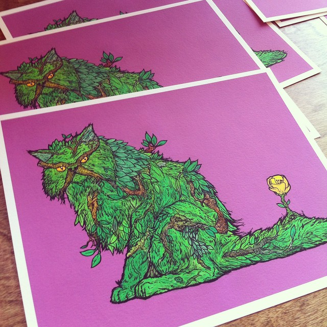 Signing prints over at @shopcalledquest for #thegoodthebadandthefuzzy2 This swamp thing cat was based off photos of the homie @gaslampkiller s gorgeous kitteh Charlie. 😼