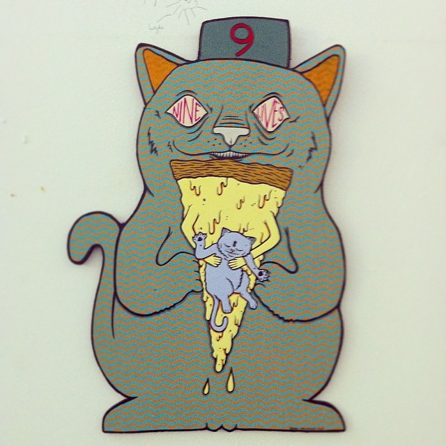 Finally got this Brian Maclaskey piece up in my studio. Probably my favorite painting in the galaxy. Check out more from Brian @squidinkkollective and @supremepizzacats1 #ninelives #supremepizzacats #petkittiesgetmoney #eatpizzagetmoney