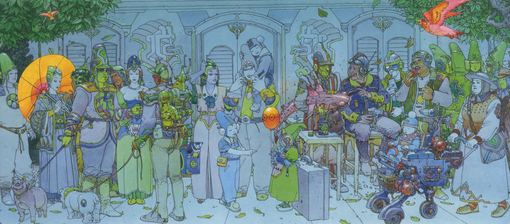 The City of Fire- The Jade Parade by and Moebius and Geof Darrow    Probably my most favorite piece of artwork and likely the most influential as well. I've spent hours and hours examining it from a young age til now and it still gets me excited.