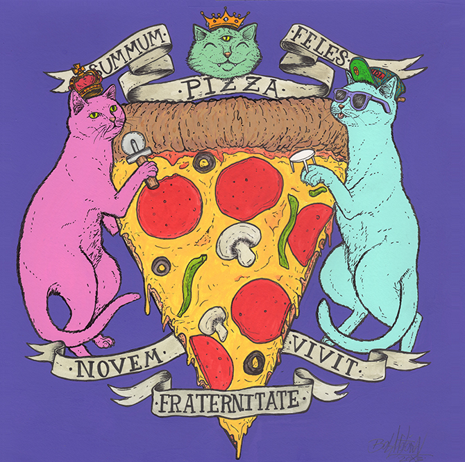 Supreme Pizza Cats: Brotherhood of the Nine Lives. Acrylic and pen on paper. 2013