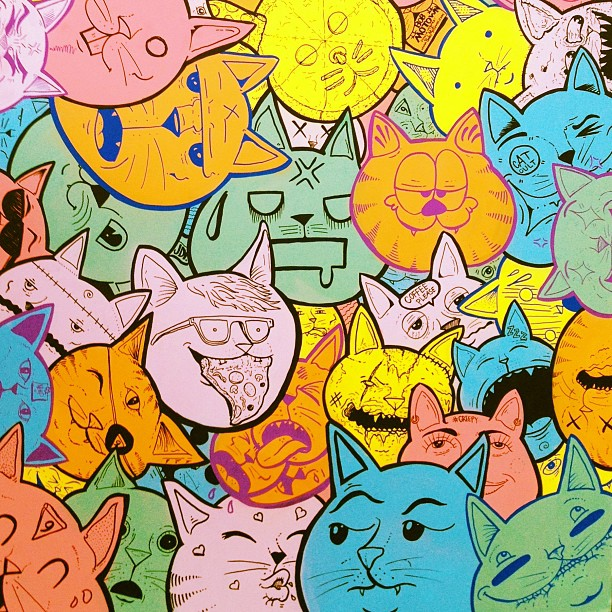 Cats on cats on cats. Detail of a table top I just did for Urban Outfitters new shop in Camden.