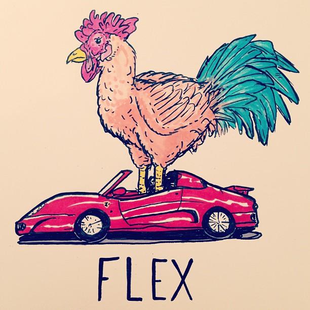 Rooster in my 'rari. Ok. #flex