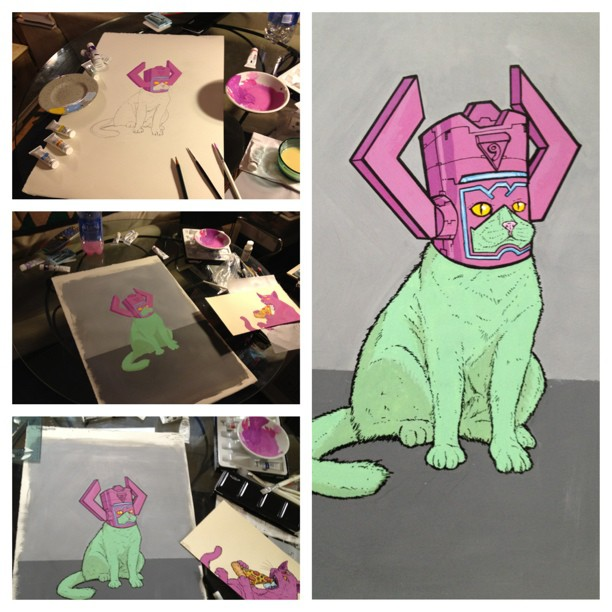 #process shots of my Galactuscat for the I HUNGER show at @shopcalledquest
