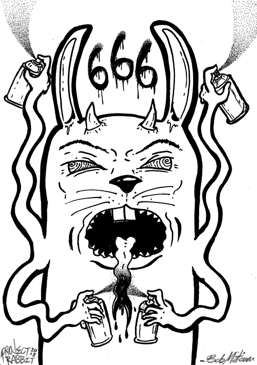 SATANIC VANDALISM RABBIT!    Another drawing from  The Request Line . Get custom drawn stuff  HERE!