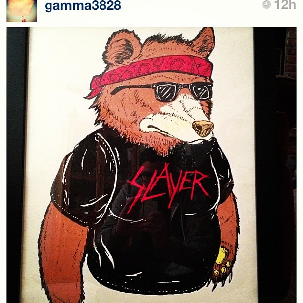 The homie @gamma3828 just got one of my old #SLAYER #bear prints. Always nice to see this print gettin some love!