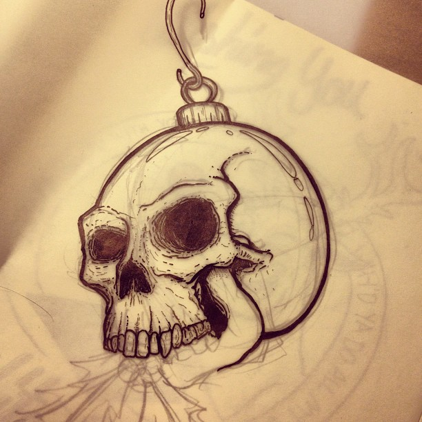 Workin on some Christmas cheer. #xmas #drawing #skull #ornament (at upinya)