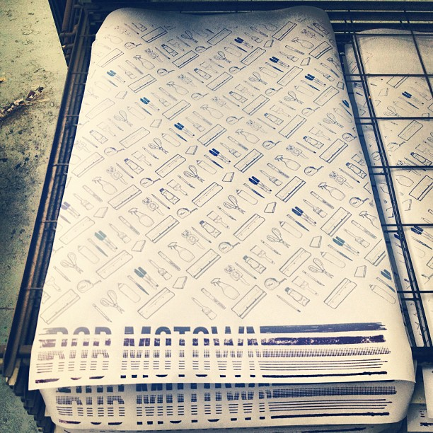 Printed up some wrapping sheets for this weekend! #screenprinted #goodness (Taken with  Instagram  at ArtHub)