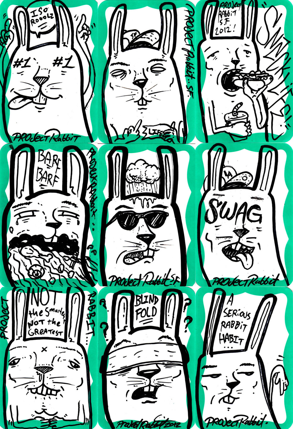 Project Rabbit Stickers GREEN series!