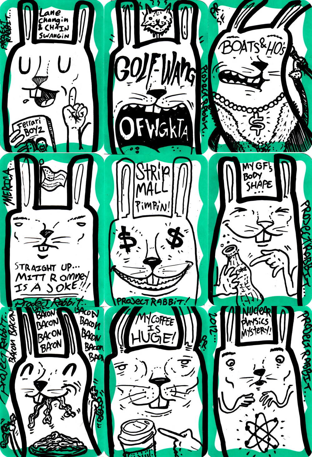 Project Rabbit Stickers from 2012. Green Series