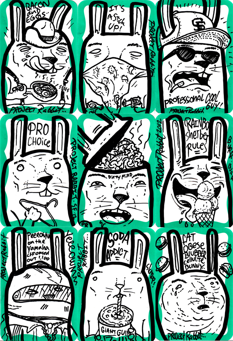 Project Rabbits Stickers GREEN SERIES from 2012!