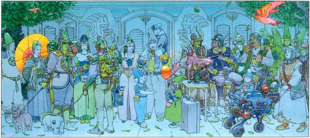 This is one of my favorite paintings ever! A print has been hanging in my house since I was a wee lad, and still I see something new every time I look at it. A classic collaboration between Geoff Darrow and the late Moebius (Jean Giraud).