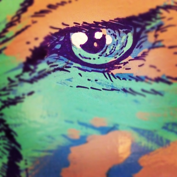 #eye of the #tiger… #wip #painting (Taken with Instagram at the desk of a champion)