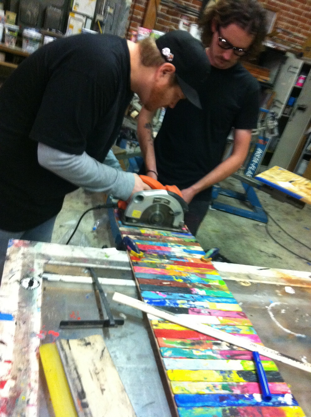 Killpixie lending mike a hand on our very first stick piece! miss these dudes!