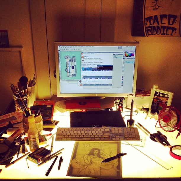 My desk glows!! (Taken with  Instagram  at The Glitter Factory)