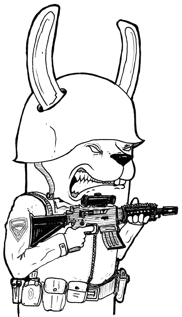 soldier/Fighter rabbit. part of a print I did for LA vs. WAR
