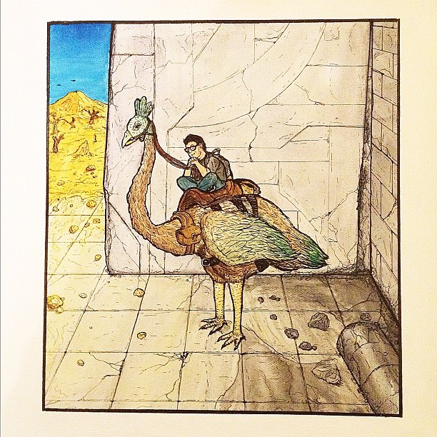 """Rest"" self portrait, watercolor and ink on canvas. #art #selfportrait #watercolor #illustration #painting #giantbird #desert (Taken with instagram)"