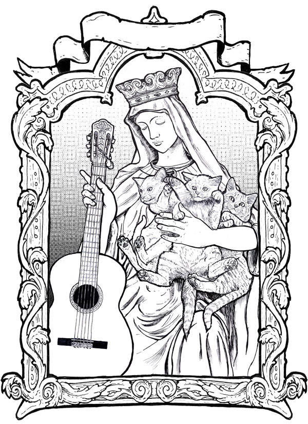 Line art I did for a Cat Power poster, 2011.