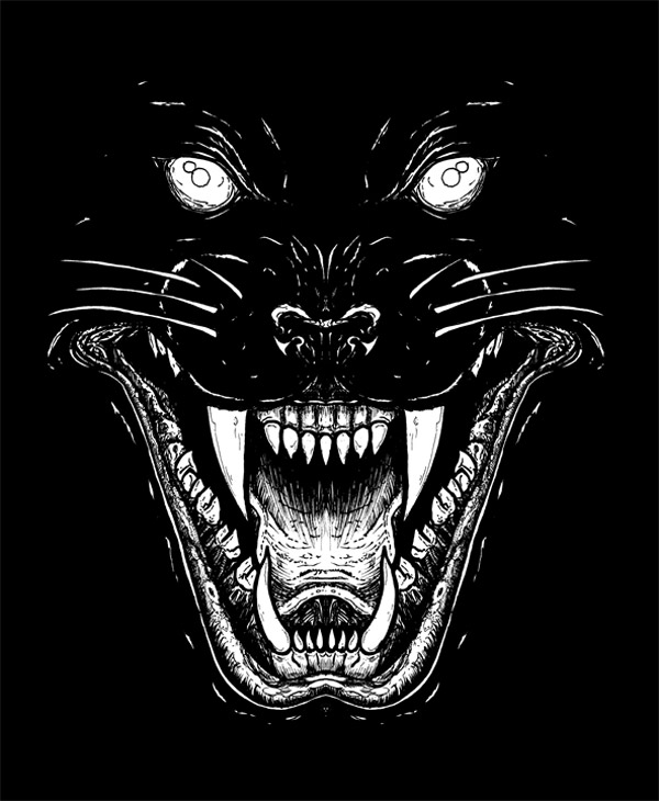 Panther line art, used for a CRASS poster, 2011.