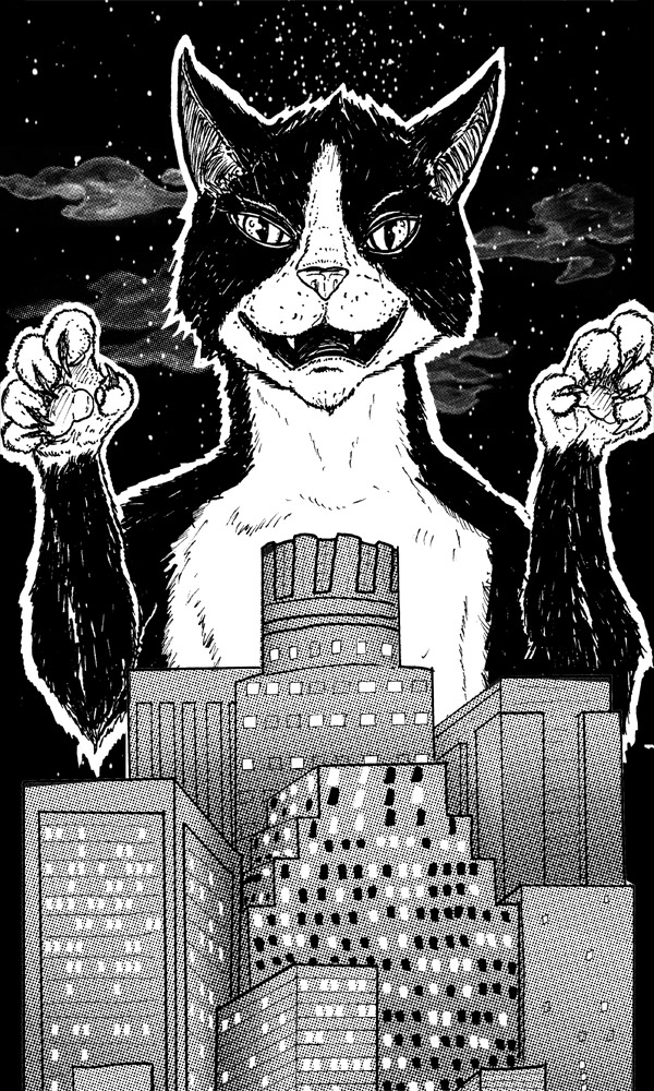 Prof. Meowington attacks Los Angeles! Line art for DeadMau5 poster.