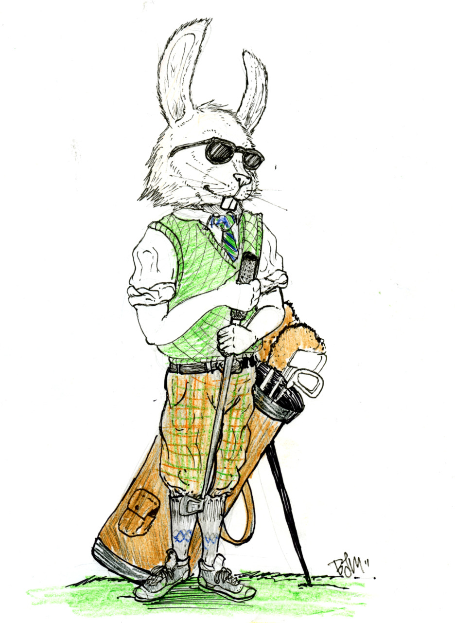 Concept sketch for a restaurant menu illustration  I did back in 2010. The restaurant was in a country club, hence the golfing rabbit.