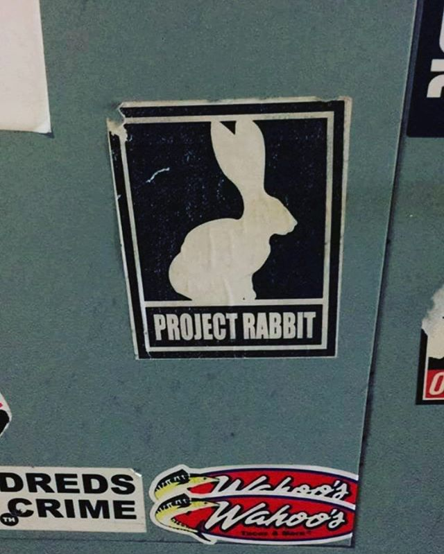 V rare #projectrabbit sticker circa 2006! Still hanging on. spotted by my dude @septerhed 🤘🏼