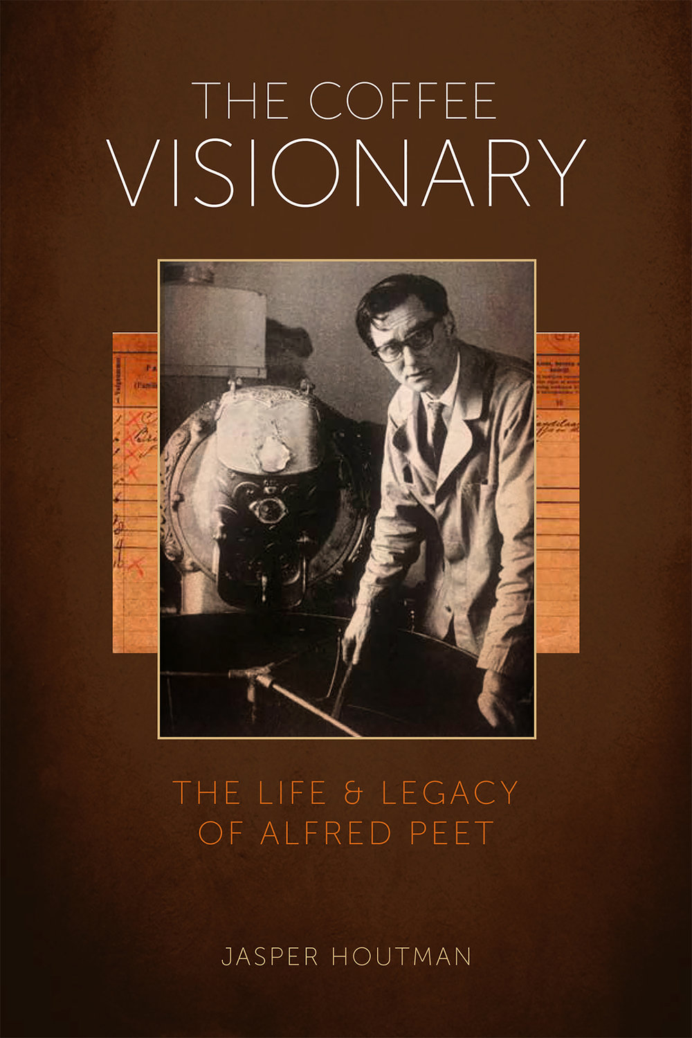 """The Coffee Visionary: The Life & Legacy of Alfred Peet- by Jasper Houtman - When Alfred Peet opened Peet's Coffee, Tea & Spices in Berkeley, California, in 1966, and started selling small batches of on-site, hand-roasted coffee beans, the renowned roastmaster had no way of knowing that he was brewing a coffee revolution and defining the coffee culture we know and love today. At a time when most Americans drank coffee percolated from canned grounds, Peet, the son of a coffee roaster from a small town in the Netherlands, laid the foundation for specialty coffee in the United States.Part biography of Alfred Peet, part history of the coffee industry, The Coffee Visionary provides a look behind the curtain at this unique, captivating beverage. Through the use of interviews and archival photographs, Houtman sheds light on Peet's life and legacy, as well as the history behind the iconic West Coast coffee brand that bears his name. The book weaves together elements of business, family history, the coffee industry, and more. Peet's attention to detail as he roasted, cupped, and served his coffee is beautifully captured in Houtman's book, and as Alfred Peet would say, """"The coffee tells my story."""""""