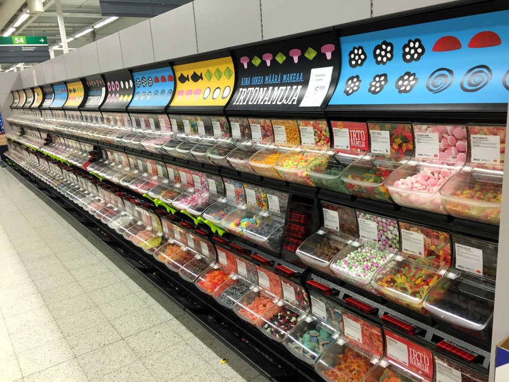 Pick and mix candies in Finland