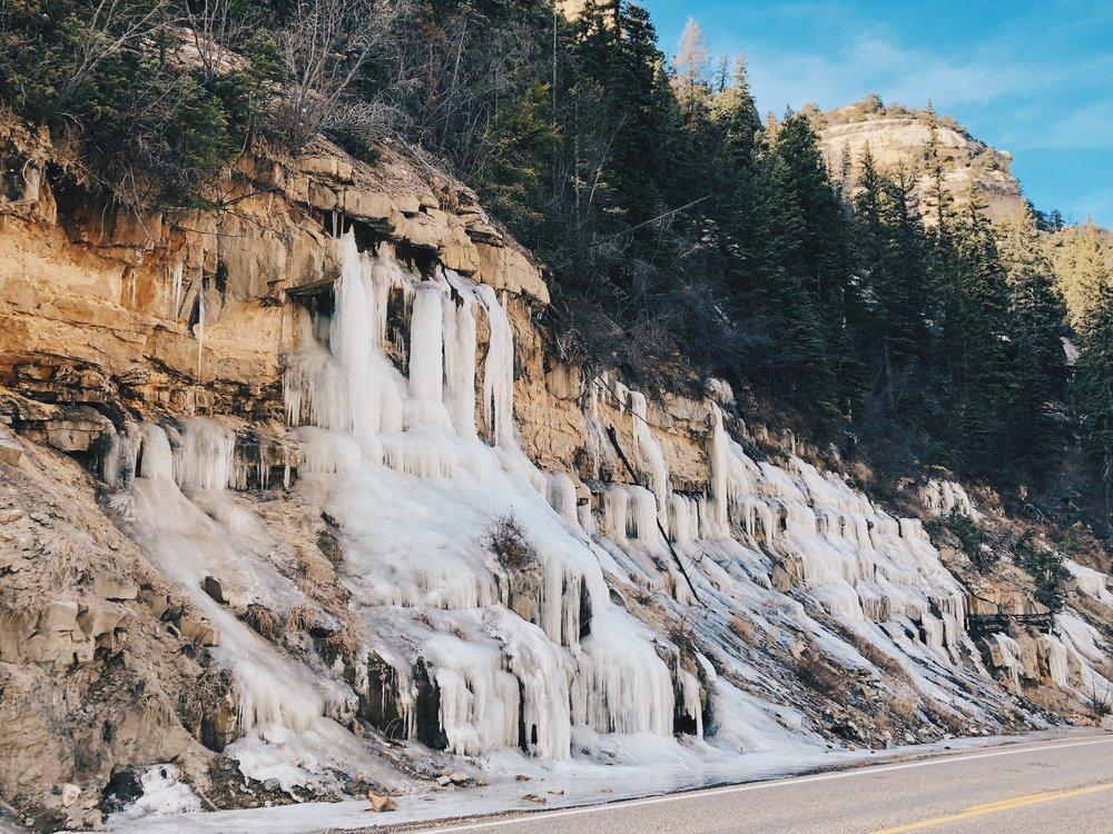 A frozen waterfall on the road to Cedar Breaks
