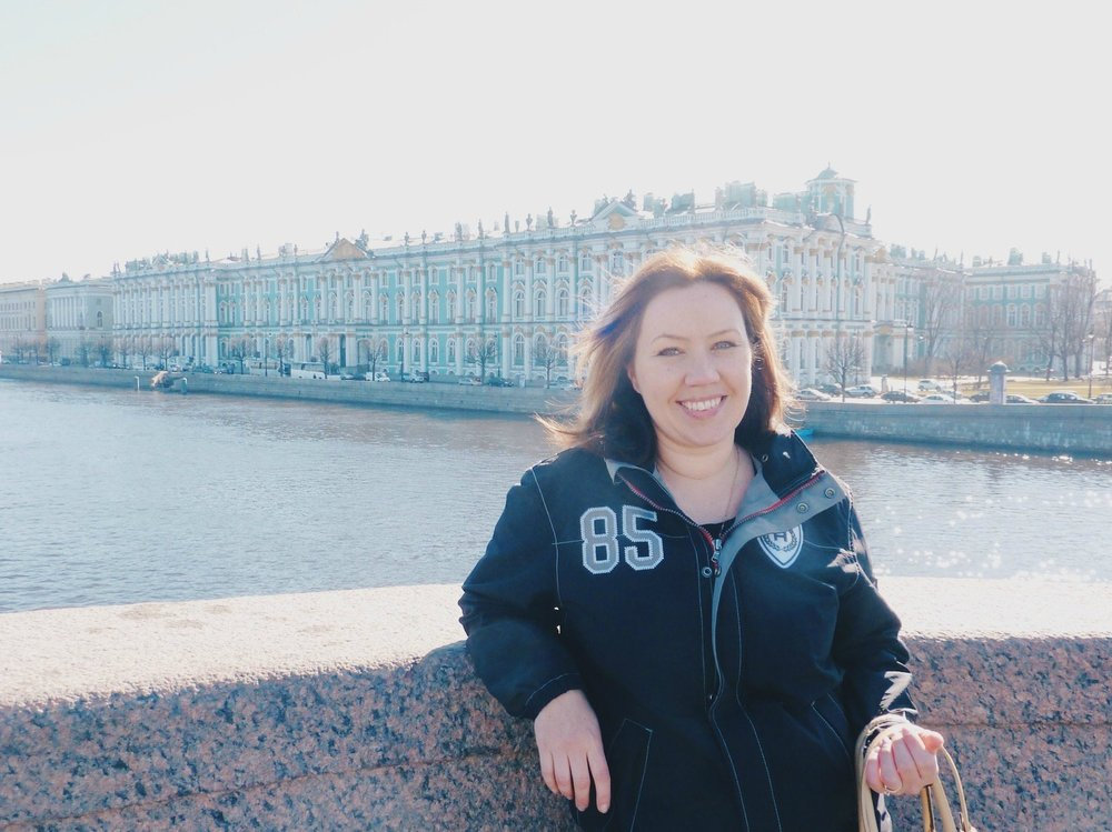 Happy face in front of the Hermitage in the spring sun