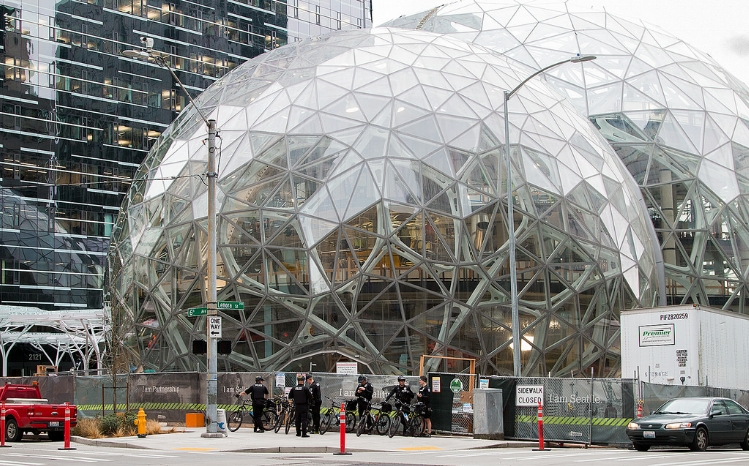 Amazon's current headquarters in Seattle, WA. Credit: Mitchell Haindfield, Flickr.