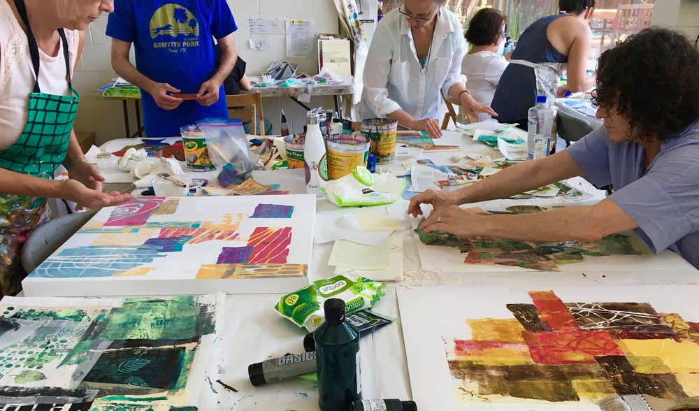 mixed media art workshops with The Art Process Studio, Los Angeles