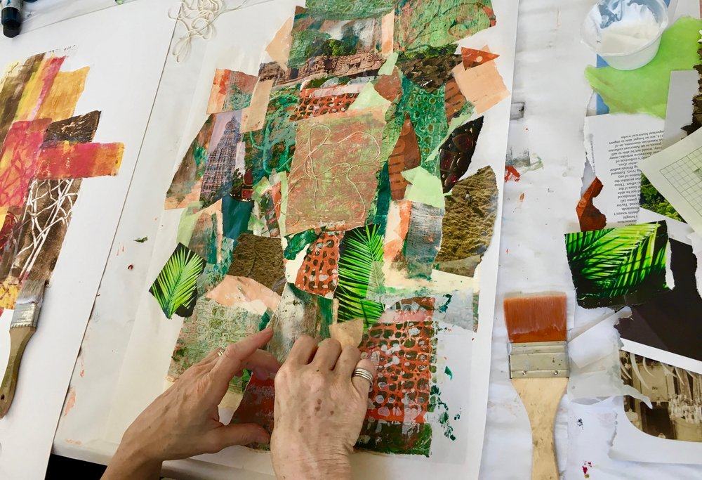 MIXED MEDIA COLLAGE ART WORKSHOP IN  THE ART PROCESS STUDIO