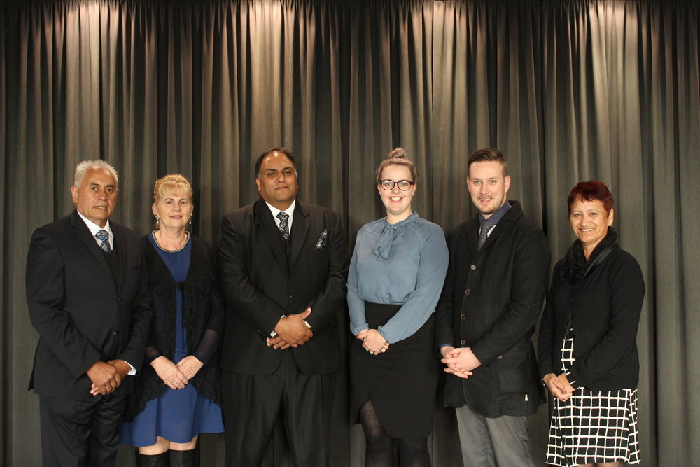 (From left to right)Robert Martin, Mary Martin, Hemi Mooney, Laura Shaw, Bradley Shaw, Vonnie Waihirere