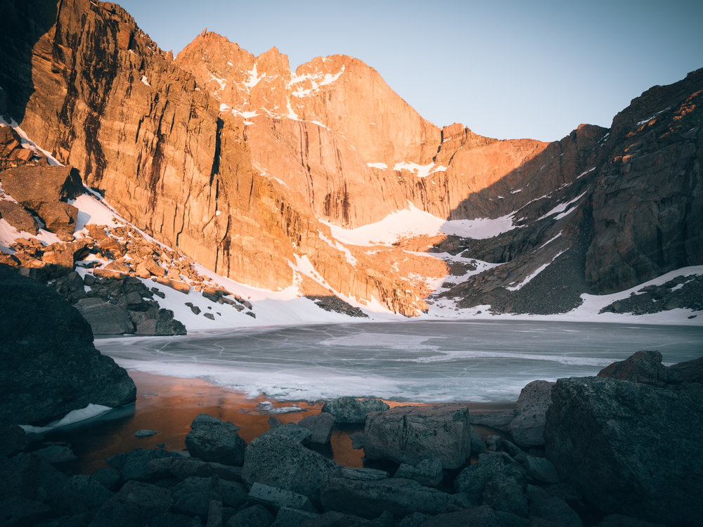 Chasm Lake frozen over with Longs Peak getting hit by the morning sun.    05.20.18  Rocky Mountain National Park, Colorado