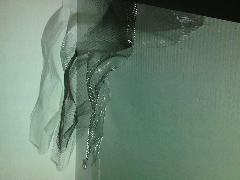 """UNTITLED"", metal mesh, projected image on object, 2013"