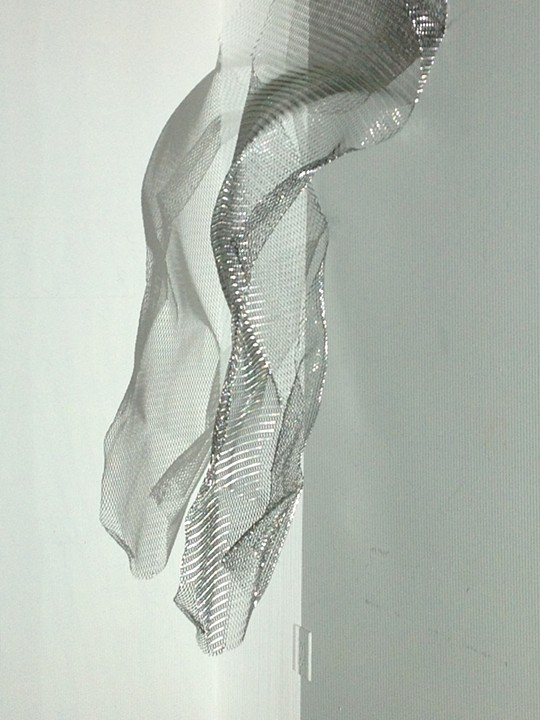 """UNTITLED"", metal mesh, projected light on object, 2013"
