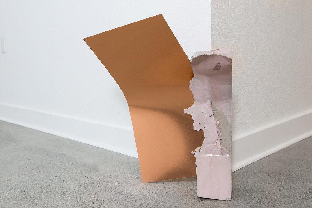 "2018,  Split Drift , Concrete & copper, 16""x21""x2"""